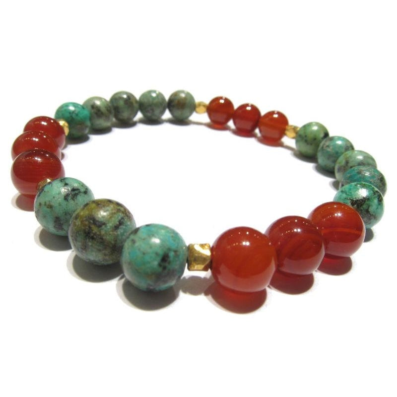 Turquoise, Carnelian and Gold Plated Accent Beaded Bracelet on Elastic Cord