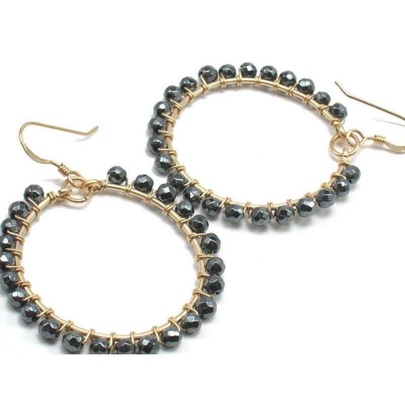 img earrings gold wrapped products hoop with earwires filled hematite