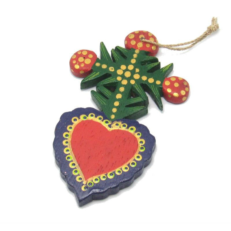 Painted Wooden Heart Ornament