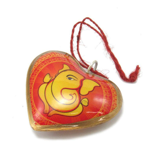 Orange Heart Ganesh Ornament
