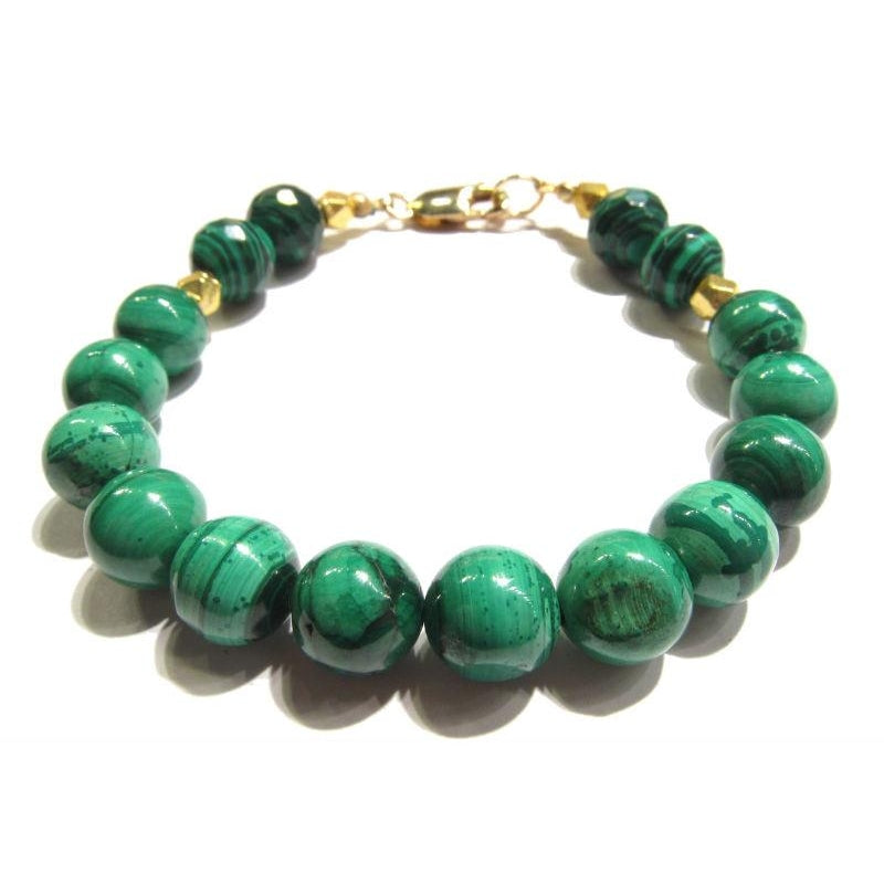 Malachite and Gold Plated Beads with Gold Plated Lobster Claw Clasp