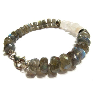 Labradorite, Pyrite and Moonstone Knotted Bracelet with Sterling Silver Trigger Clasp