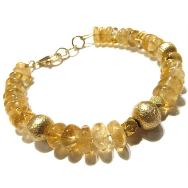 Citrine Bracelet with Gold Plated Trigger Clasp