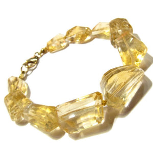 Citrine Faceted Knotted Bracelet with Gold Plated Lobster Claw Clasp
