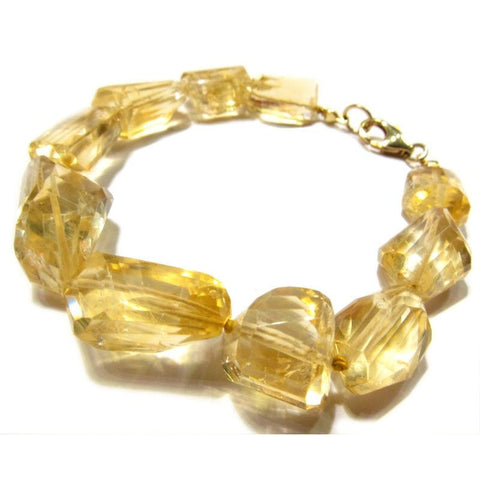 Citrine Bracelet with Gold Plated Lobster Claw Clasp