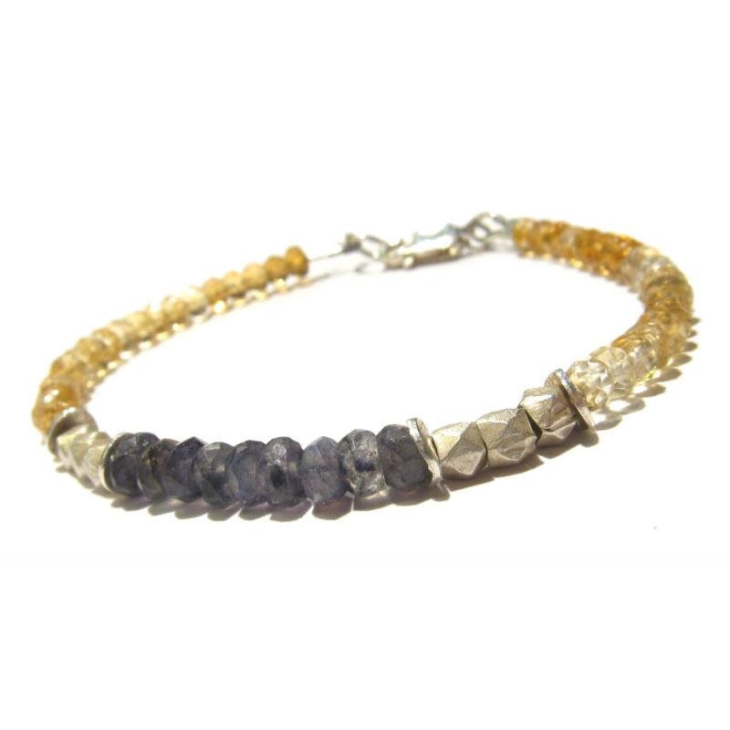 Citrine and Labradorite Bracelet with Sterling Silver Lobster Claw Clasp