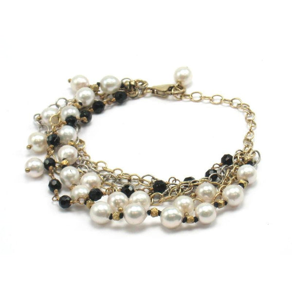 Fresh Water Pearl and Onyx Bracelet with Gold Plate Trigger Clasp