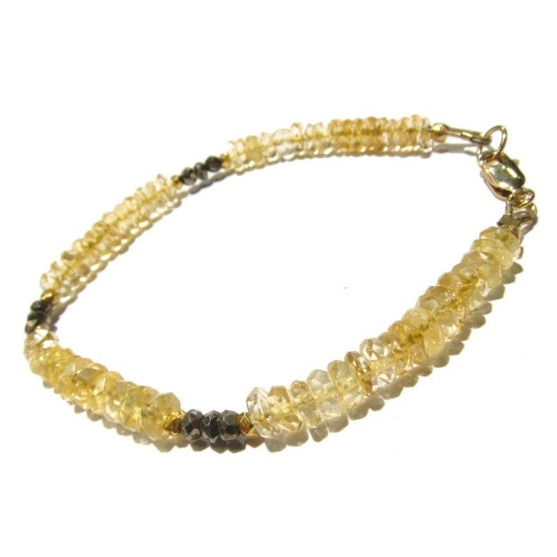 Citrine and Pyrite with Gold Filled Lobster Claw Clasp