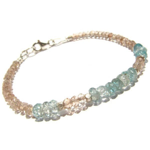 Topaz and Blue Zircon Faceted Bracelet with Sterling Silver Trigger Clasp