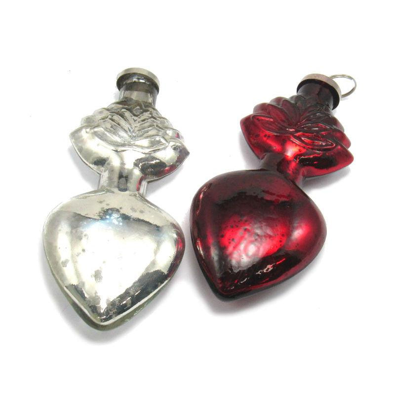 Red/Silver Heart Ornament
