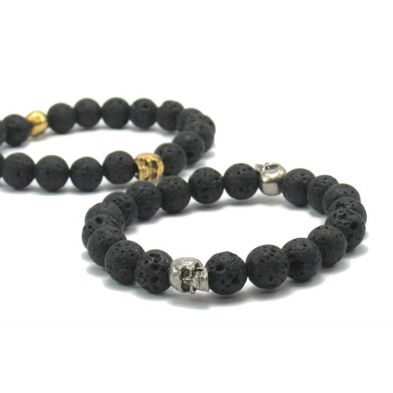 Lava Stone Stretch Bracelet with Metal Skull Beads