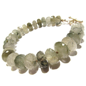 Rutilated Quartz Knotted Bracelet with Sterling Silver Toggle Clasp