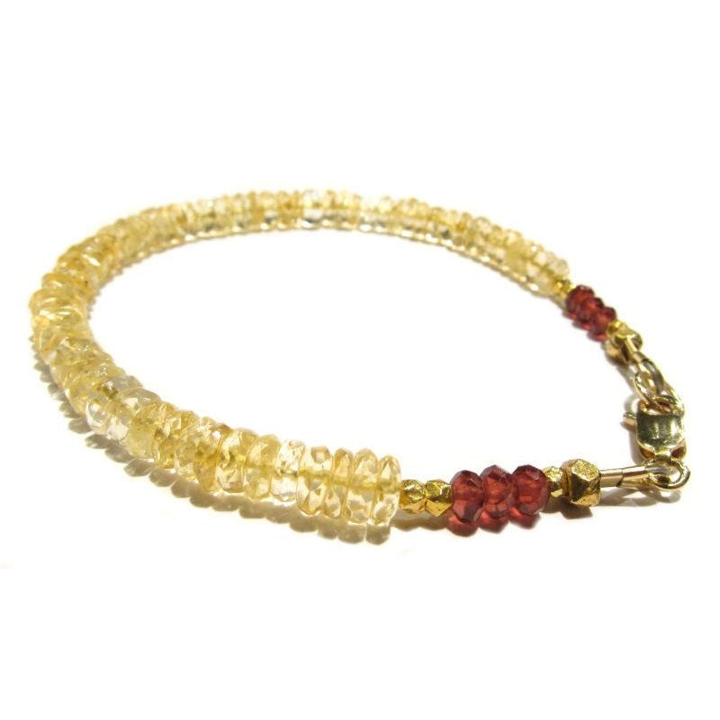 Citrine and Garnet Bracelet with Gold Filled Lobster Claw Clasp