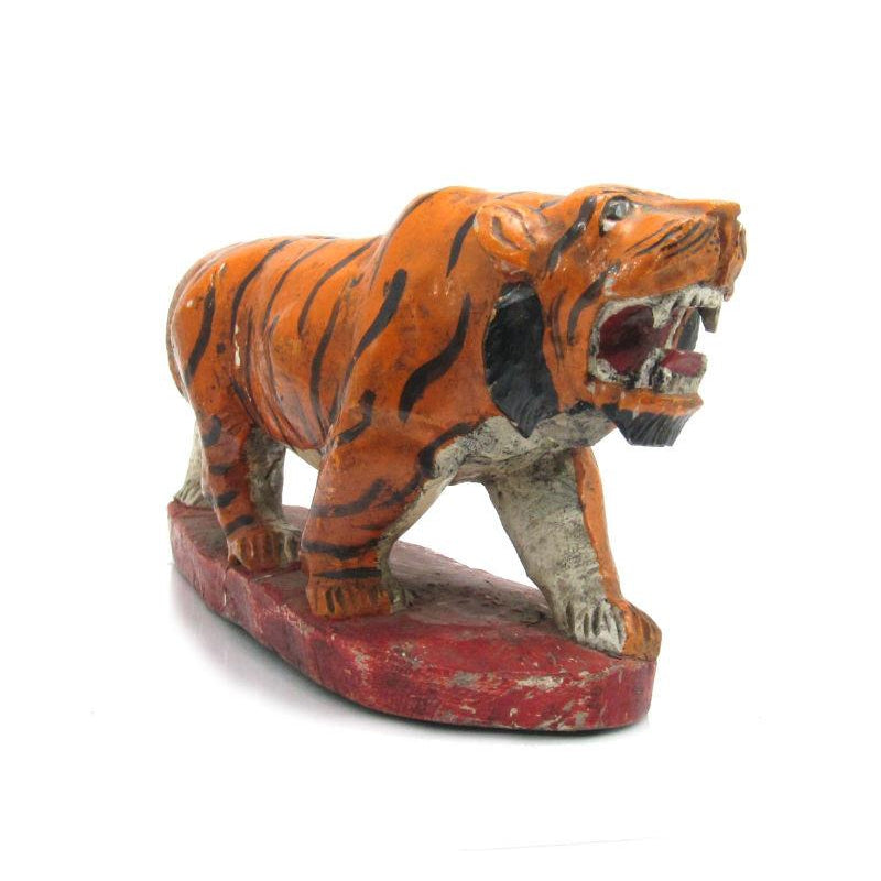 Antique Northern Thailand/ Burma Border Tiger Temple Guardian Figure -04