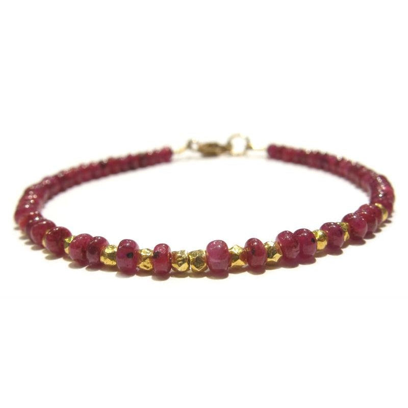 Ruby Bracelet with Faceted Gold Plated Beads and Gold Filled Lobster Claw Clasp