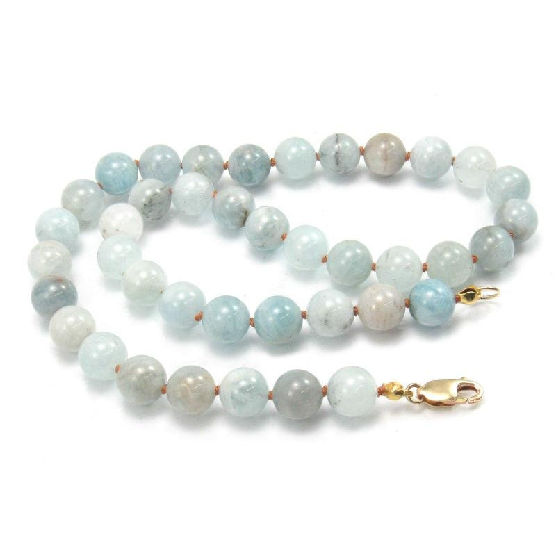 Aquamarine Rounds Knotted with Gold Filled Lobster Claw Clasp