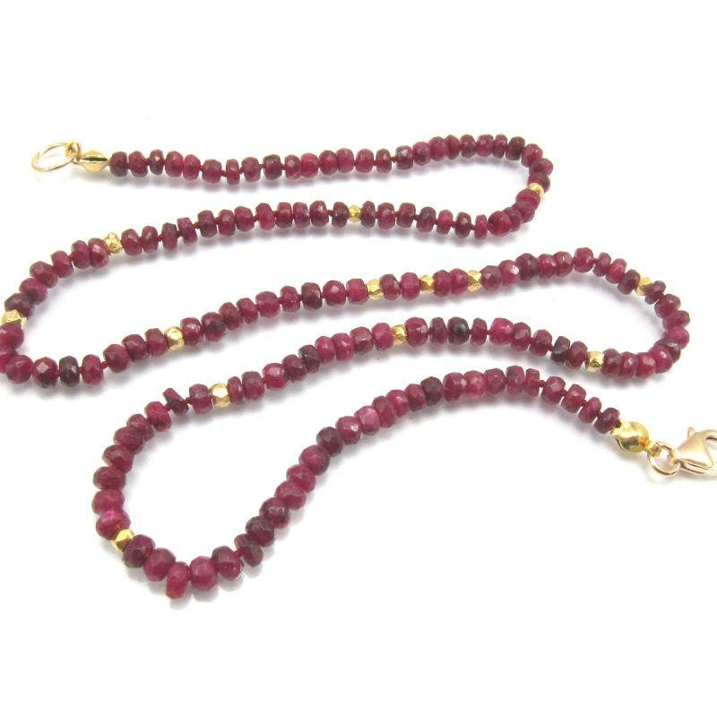 Ruby Necklace with Gold Filled Trigger Clasp