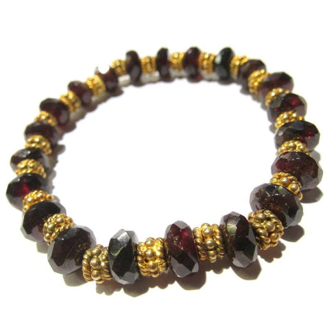 Garnet Bracelet with Gold Plate Accent Beads on Elastic Cord
