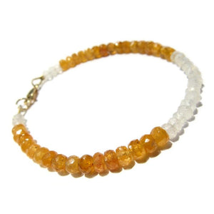 Faceted Hessonite and Moonstone Bracelet with Gold Filled Lobster Claw Clasp