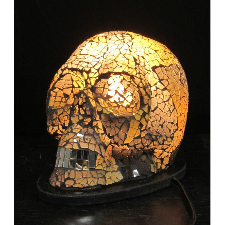 Glass Mosaic Skull Lamp 1
