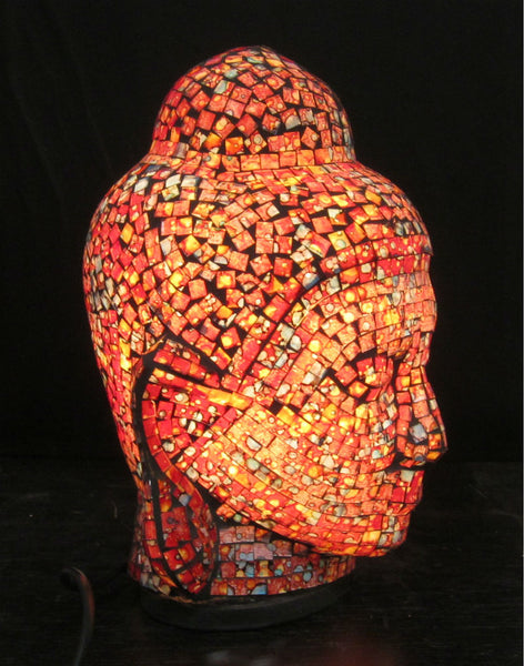 Glass Mosaic Buddha Head Lamp 1