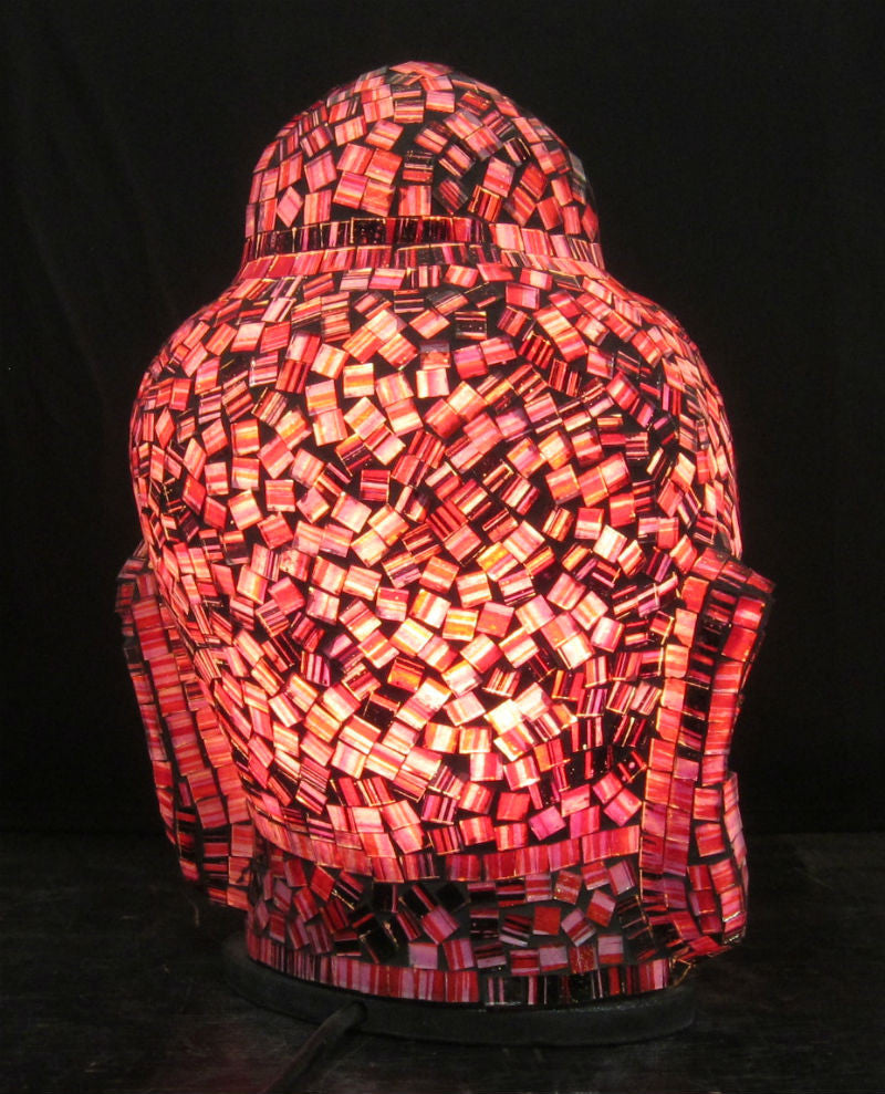 Glass Mosaic Buddha Head Lamp 2