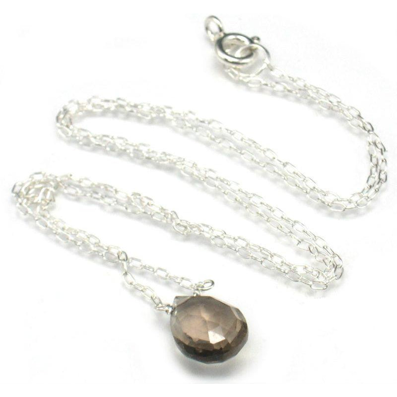 Smokey Quartz Pendant Necklace with Sterling Silver Spring Ring Clasp