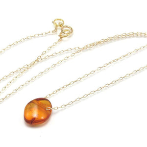 Amber Necklace with Gold Filled Chain and Gold Filled Spring Ring Clasp