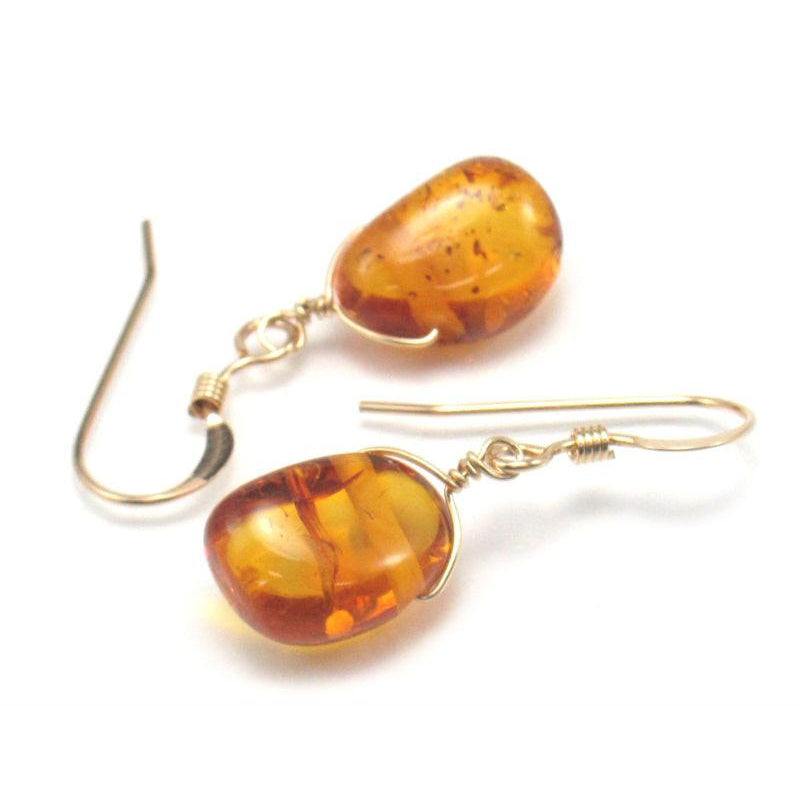 Amber Earrings with Gold Filled French Ear Wires