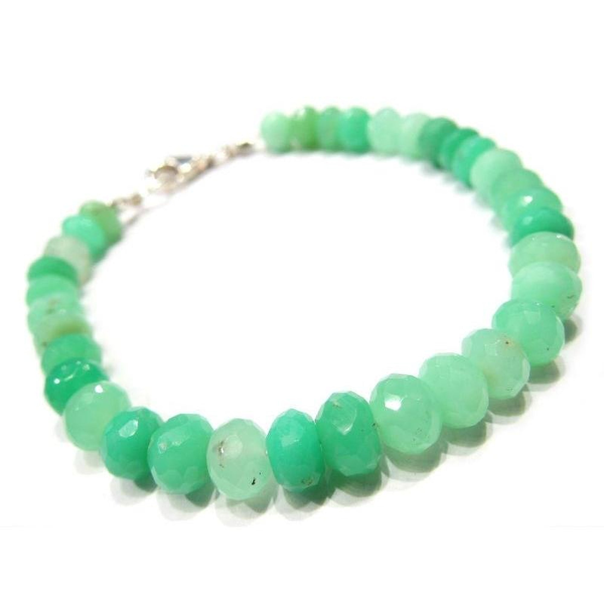 Chrysoprase Bracelet with Sterling Silver Trigger Clasp