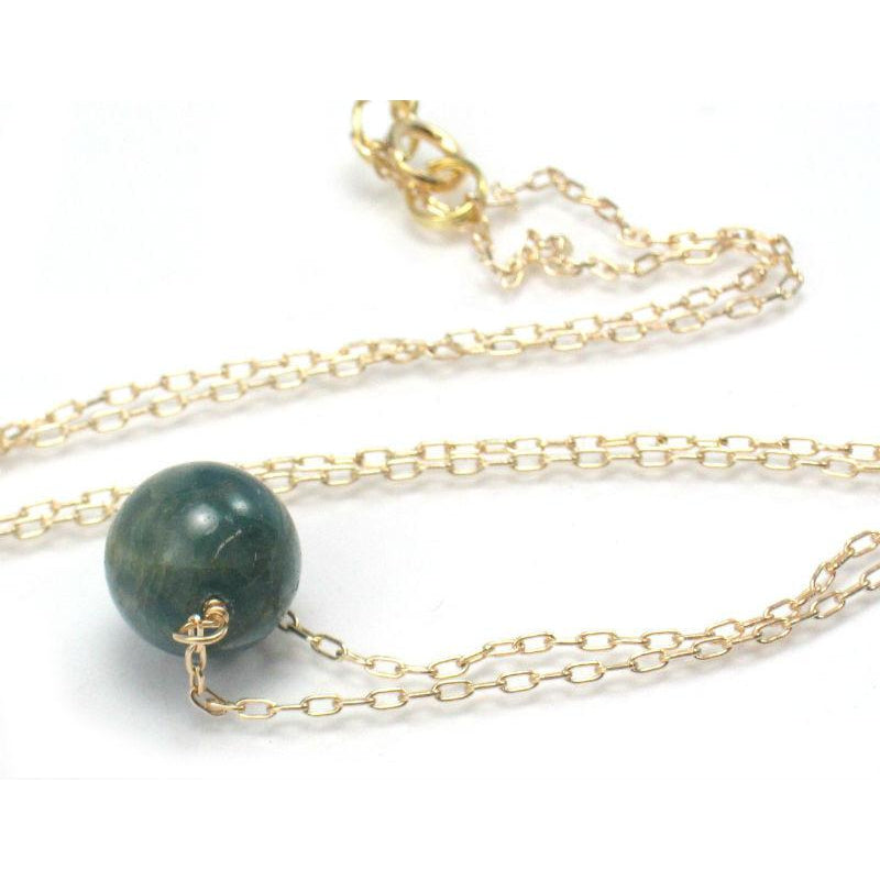 Apatite Bead Necklace on Gold Filled Chain and Gold Filled Spring Ring Clasp