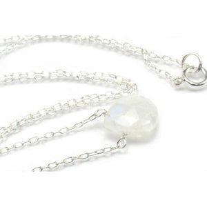 Moonstone Necklace on Sterling Silver Chain and Sterling Silver Spring Ring Clasp