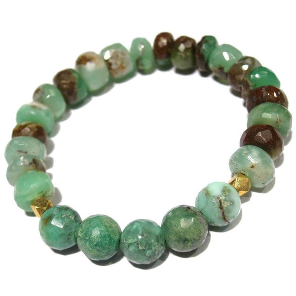 Chrysoprase and Gold Plated Beaded Bracelet on Elastic Cord
