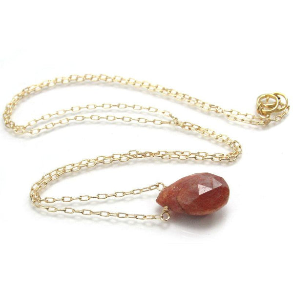 Sunstone Necklace with Gold Filled Chain and Gold Filled Spring Ring Clasp