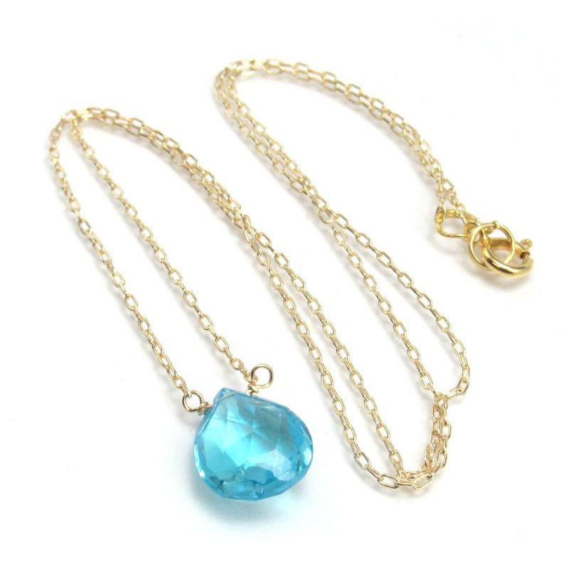 Blue Topaz Drop Necklace on Gold Filled Chain