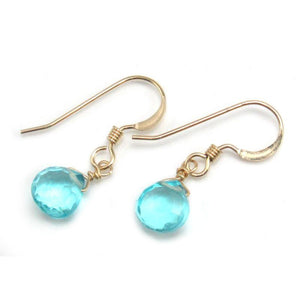 Blue Topaz Earrings with Gold Filled French Ear Wires