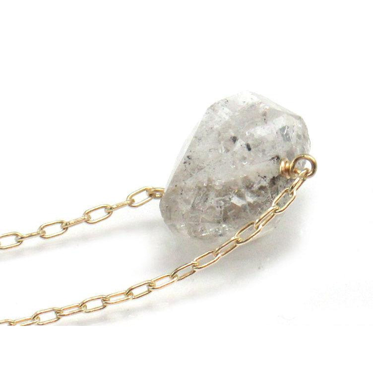 Herkimer Diamond Necklace on Gold Filled Chain with Gold Filled Spring Ring Clasp