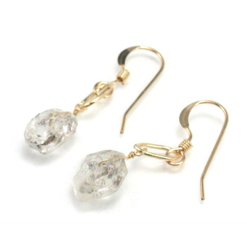 Herkimer Diamond Earrings with Gold Filled Wire