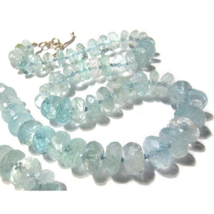 Aquamarine Necklace with Sterling Silver Toggle Clasp