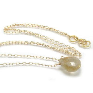 Rutilated Quartz Necklace on Gold Filled Chain with Gold Filled Spring Ring Clasp