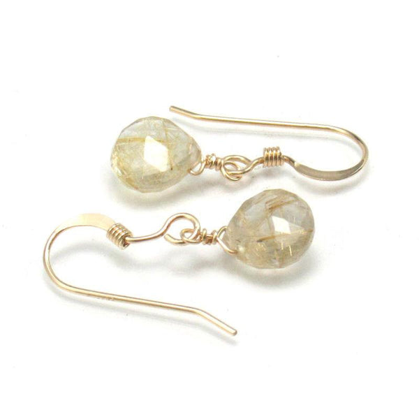 Rutilated Quartz Earrings with Gold Filled French Ear Wires