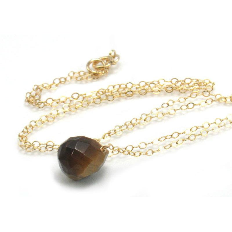 Tiger's Eye Necklace on Gold Filled Chain with Gold Filled Spring Ring Clasp