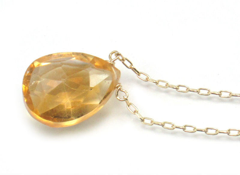 Citrine Necklace on Gold Filled Chain with Gold Filled Spring Ring Clasp