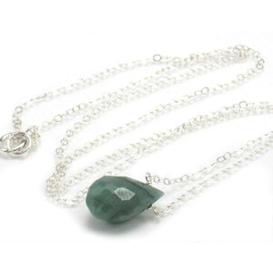 Emerald Necklace on Sterling Silver Chain with Sterling Silver Spring Ring Clasp