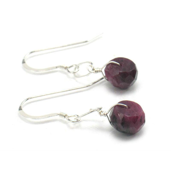 Ruby-Zoisite Faceted Earrings with Sterling Silver French Ear Wires