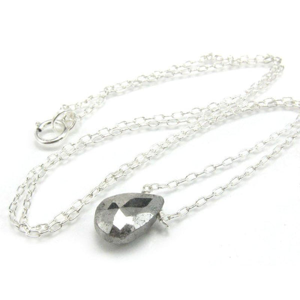 Pyrite Necklace on Sterling Silver Chain with Sterling Silver Spring Ring Clasp