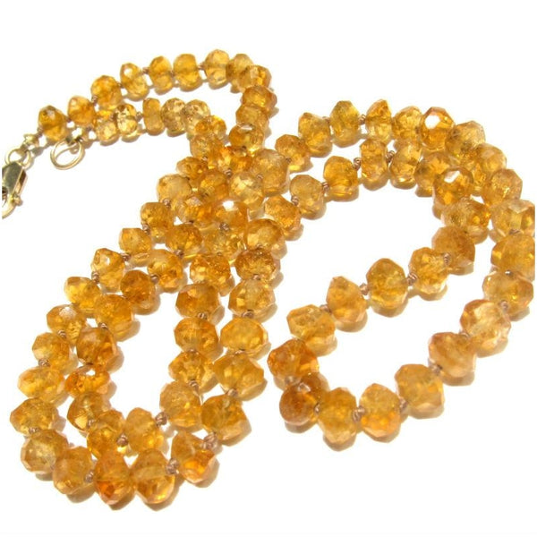 Citrine Necklace with Gold Filled Lobster Claw Clasp