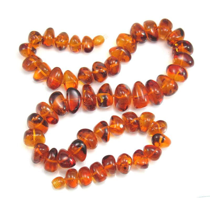 Cognac Amber Freeform Nuggets Necklace