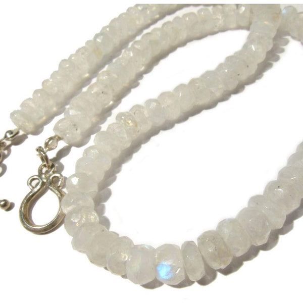 Moonstone Necklace with Sterling Silver Toggle Clasp