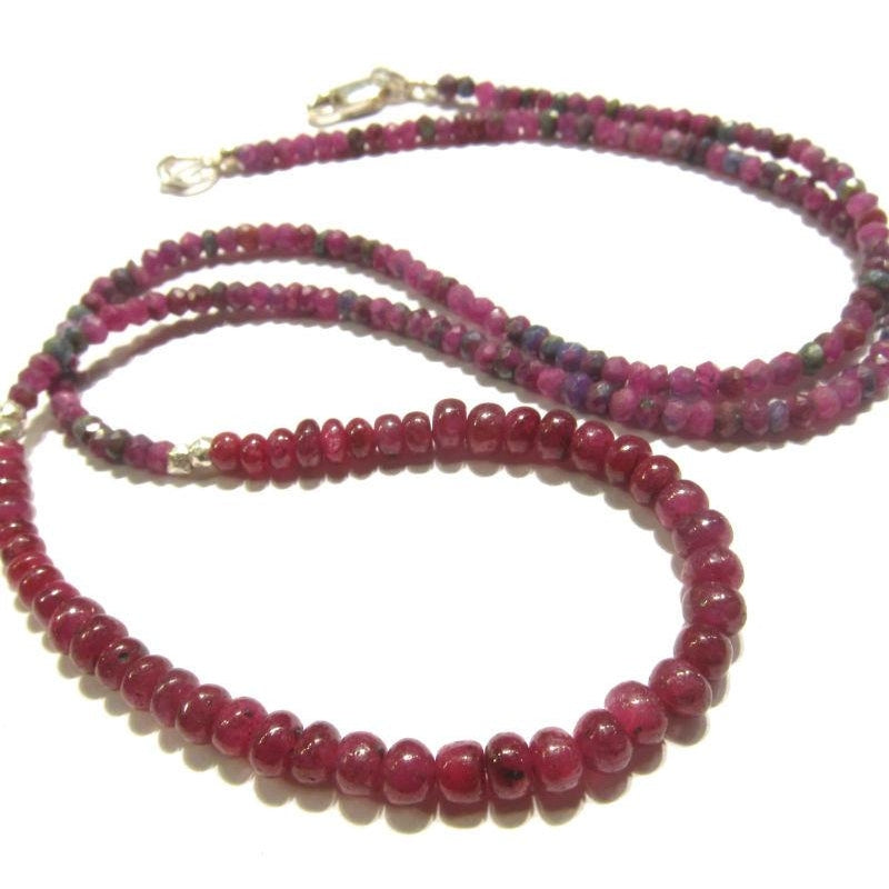 Ruby and Ruby-Zoisite Necklace with Sterling Lobster Claw Clasp